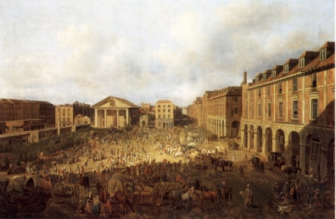 Covent Garden on Market Day painted by Samuel Scott