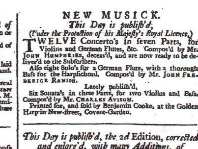 Copy of an advertisement for Ranish's work.  From London Evening Post 11th to 13th August 1737.