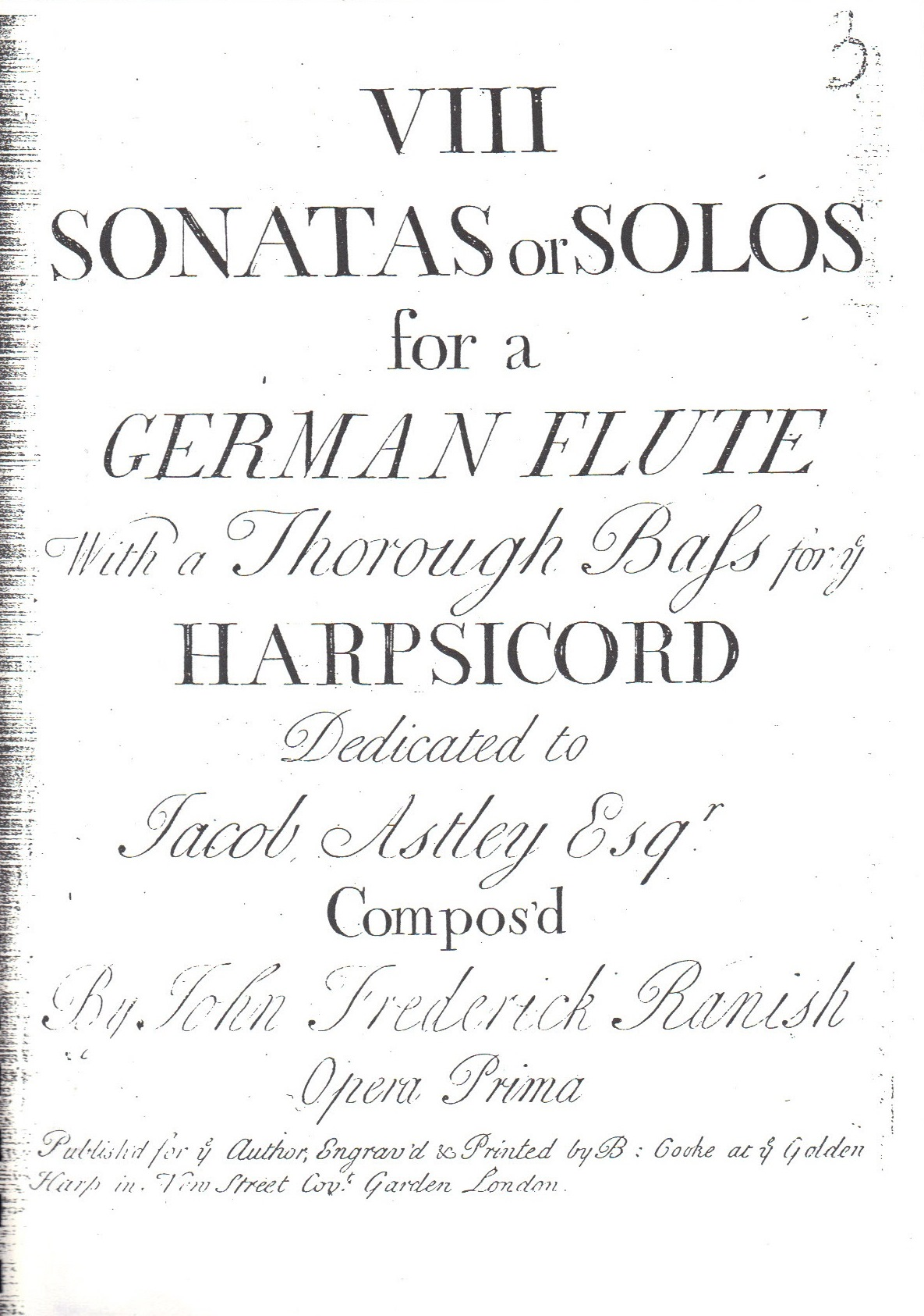 Cover of the set of 8 flute sonatas.  Published 1735.