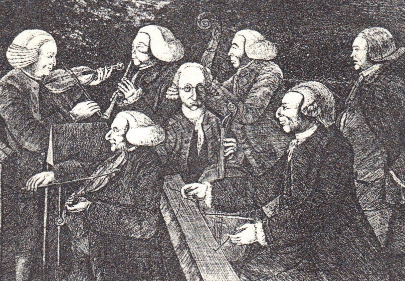A Concert at Christ's College, Cambridge in June 1767.  John Ranish can be seen playing the oboe.